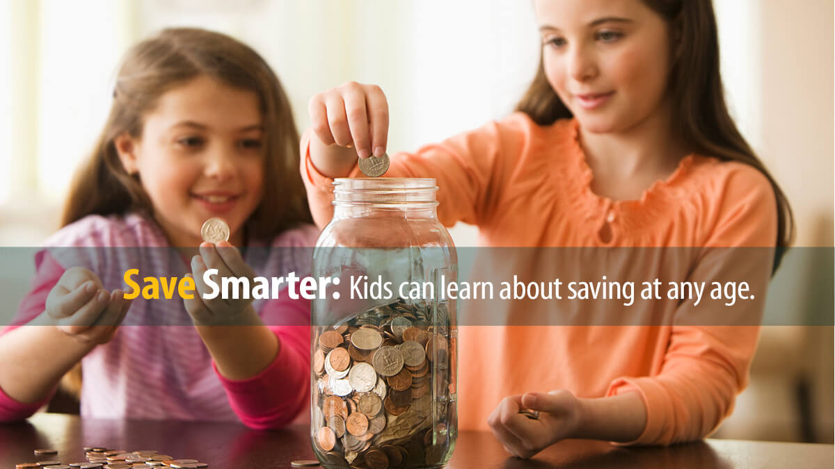 Children find a fun way to save for their future by adding coins to a jar.